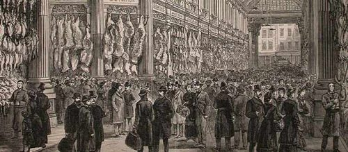 A drawing of Leadenhall Market from Illustrated London News 1881